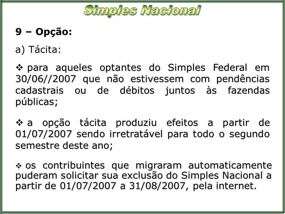 9 – Opção: para aqueles optantes do Simples Federal em 30/06//2007 que não estivessem com pendências cadastrais ou de débitos juntos às fazendas públi