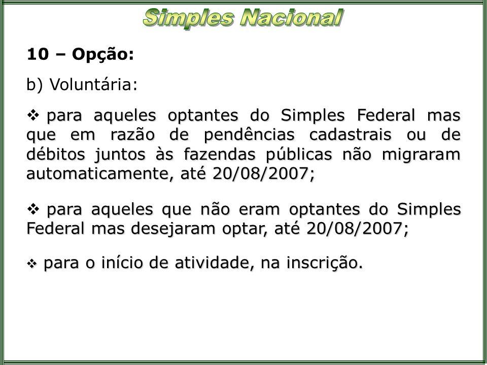 10 – Opção: para aqueles optantes do Simples Federal mas que em razão de pendências cadastrais ou de débitos juntos às fazendas públicas não migraram