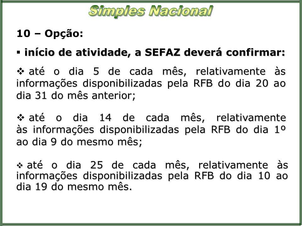 10 – Opção: até o dia 5 de cada mês, relativamente às informações disponibilizadas pela RFB do dia 20 ao dia 31 do mês anterior; início de atividade,