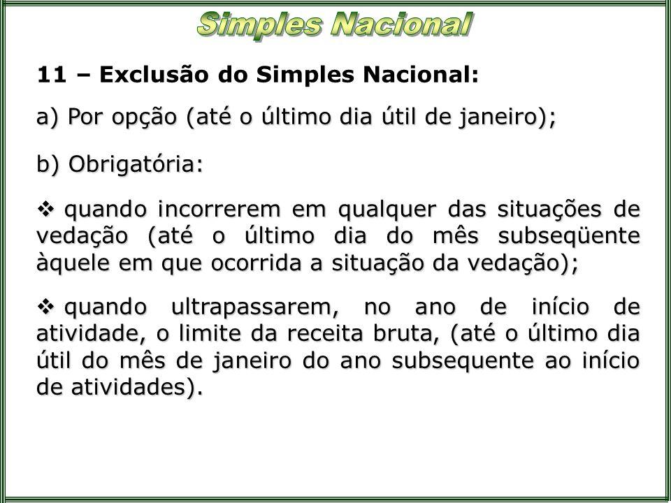 11 – Exclusão do Simples Nacional: a) Por opção (até o último dia útil de janeiro); b) Obrigatória: quando incorrerem em qualquer das situações de ved