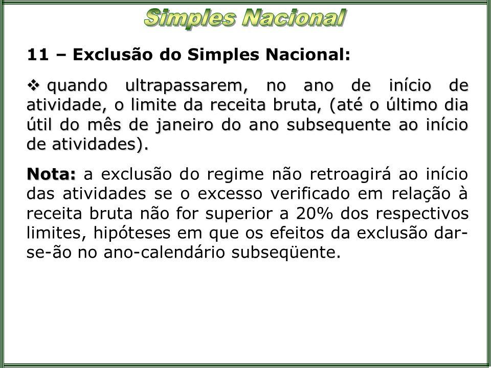 11 – Exclusão do Simples Nacional: quando ultrapassarem, no ano de início de atividade, o limite da receita bruta, (até o último dia útil do mês de ja