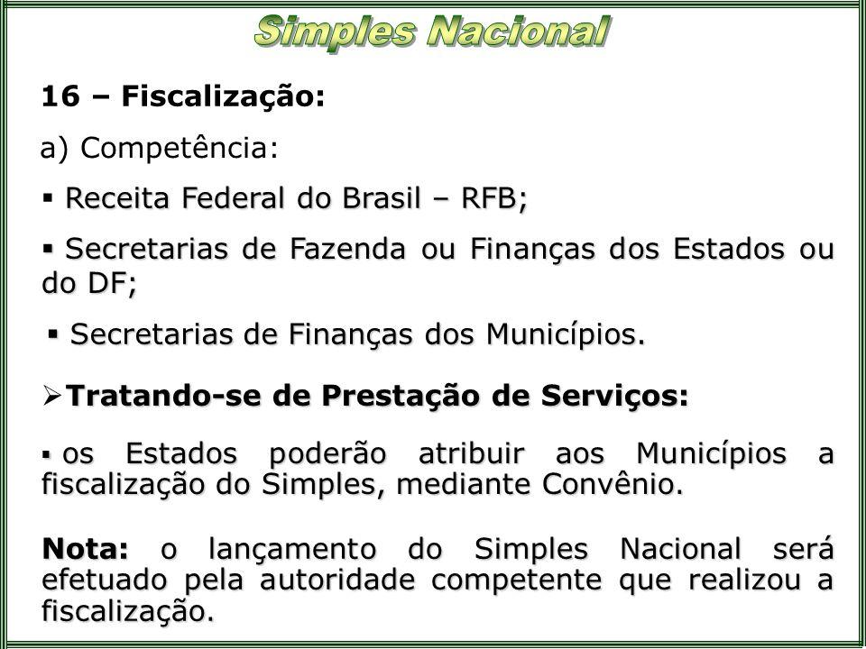 16 – Fiscalização: a) Competência: Receita Federal do Brasil – RFB; os Estados poderão atribuir aos Municípios a fiscalização do Simples, mediante Con