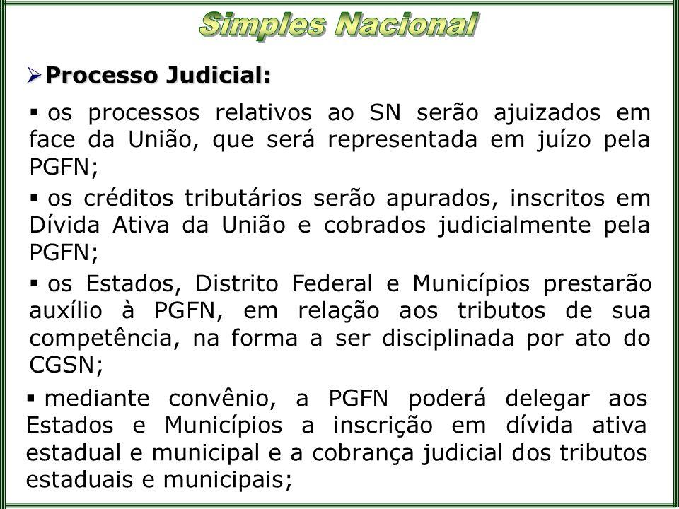 Processo Judicial: Processo Judicial: os processos relativos ao SN serão ajuizados em face da União, que será representada em juízo pela PGFN; mediant