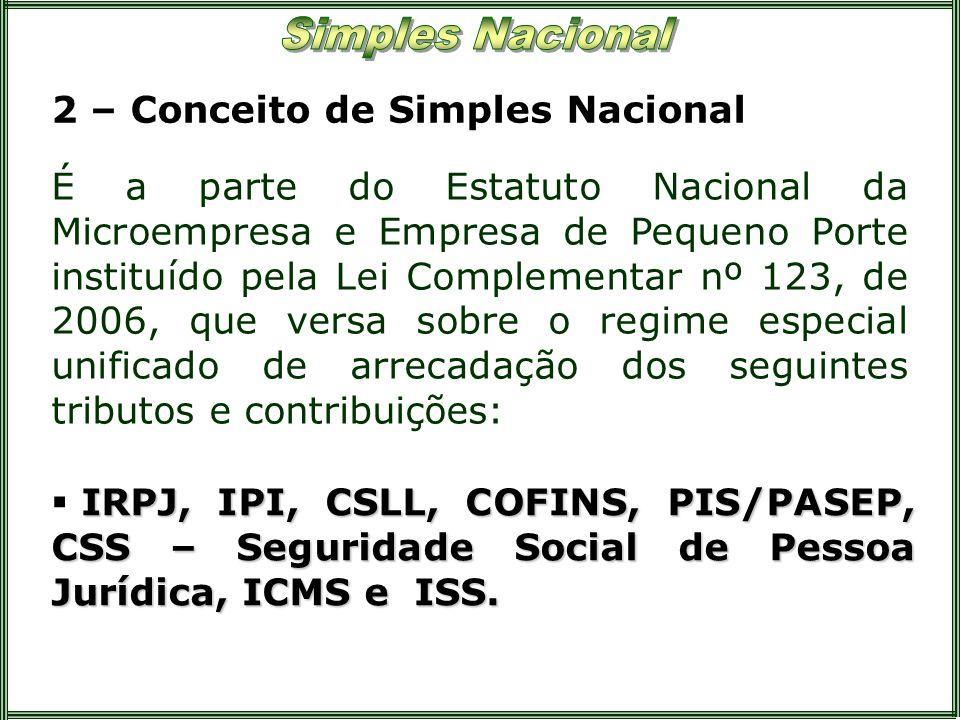 2 – Conceito de Simples Nacional É a parte do Estatuto Nacional da Microempresa e Empresa de Pequeno Porte instituído pela Lei Complementar nº 123, de