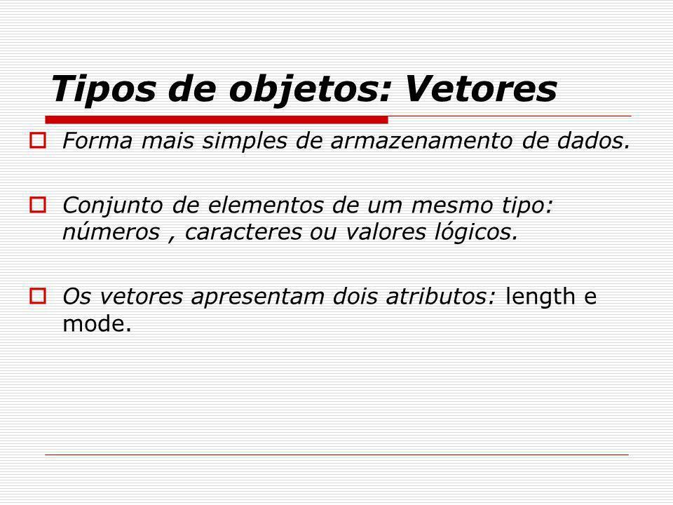 Tipos de objetos: Vetores Forma mais simples de armazenamento de dados. Conjunto de elementos de um mesmo tipo: números, caracteres ou valores lógicos