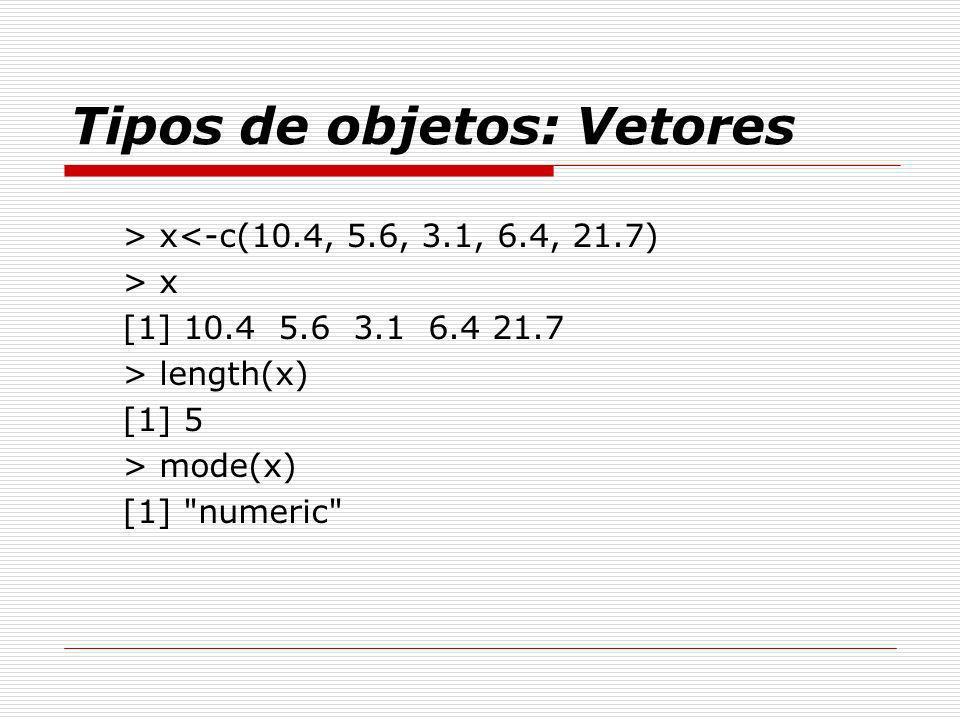 Tipos de objetos: Vetores > x<-c(10.4, 5.6, 3.1, 6.4, 21.7) > x [1] 10.4 5.6 3.1 6.4 21.7 > length(x) [1] 5 > mode(x) [1]