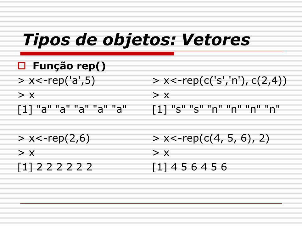 Tipos de objetos: Vetores Função rep() > x<-rep('a',5) > x [1]