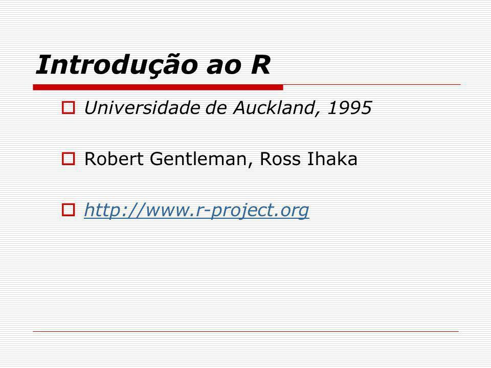 Introdução ao R Universidade de Auckland, 1995 Robert Gentleman, Ross Ihaka http://www.r-project.org