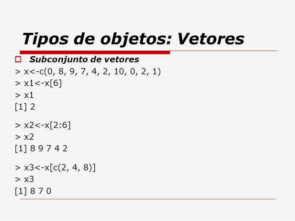Tipos de objetos: Vetores Subconjunto de vetores > x<-c(0, 8, 9, 7, 4, 2, 10, 0, 2, 1) > x1<-x[6] > x1 [1] 2 > x2<-x[2:6] > x2 [1] 8 9 7 4 2 > x3<-x[c