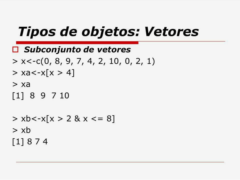 Tipos de objetos: Vetores Subconjunto de vetores > x<-c(0, 8, 9, 7, 4, 2, 10, 0, 2, 1) > xa 4] > xa [1] 8 9 7 10 > xb 2 & x <= 8] > xb [1] 8 7 4