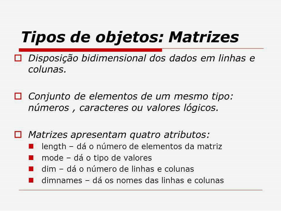 Tipos de objetos: Matrizes Disposição bidimensional dos dados em linhas e colunas. Conjunto de elementos de um mesmo tipo: números, caracteres ou valo