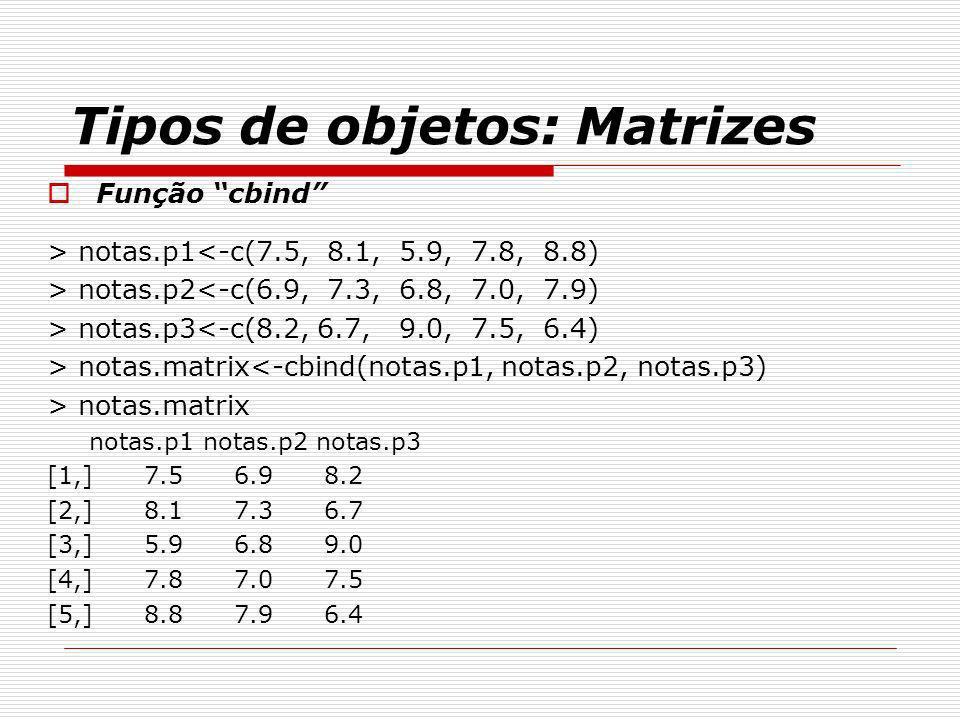 Tipos de objetos: Matrizes Função cbind > notas.p1<-c(7.5, 8.1, 5.9, 7.8, 8.8) > notas.p2<-c(6.9, 7.3, 6.8, 7.0, 7.9) > notas.p3<-c(8.2, 6.7, 9.0, 7.5