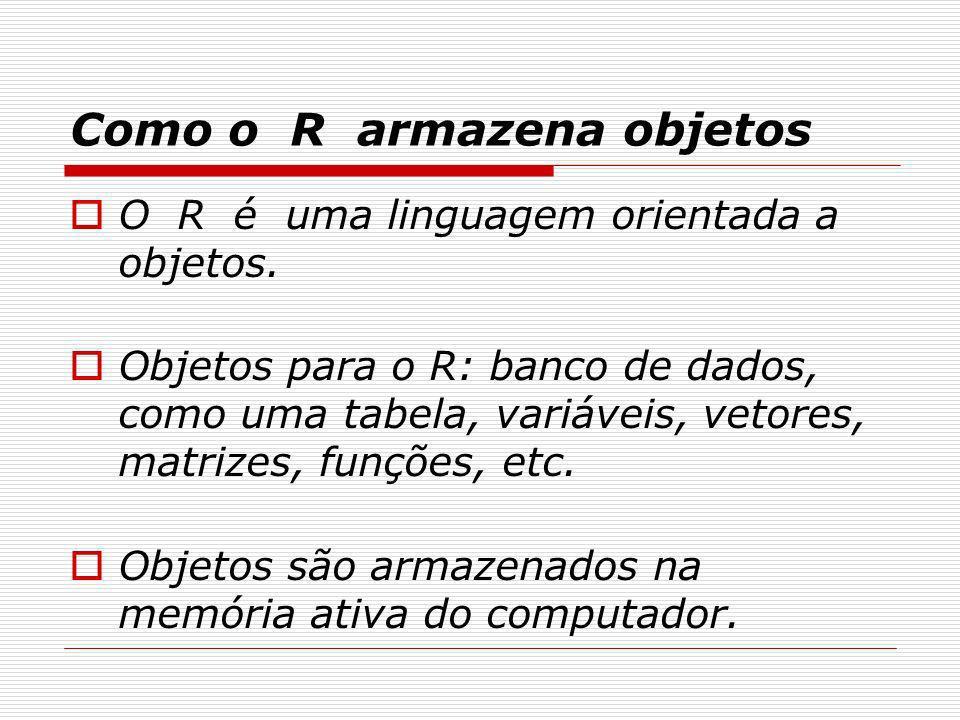 Como o R armazena objetos O R é uma linguagem orientada a objetos. Objetos para o R: banco de dados, como uma tabela, variáveis, vetores, matrizes, fu
