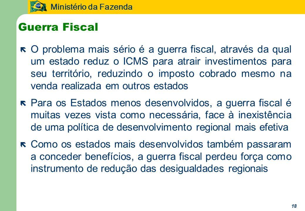 Ministério da Fazenda 18 Guerra Fiscal ë O problema mais sério é a guerra fiscal, através da qual um estado reduz o ICMS para atrair investimentos par