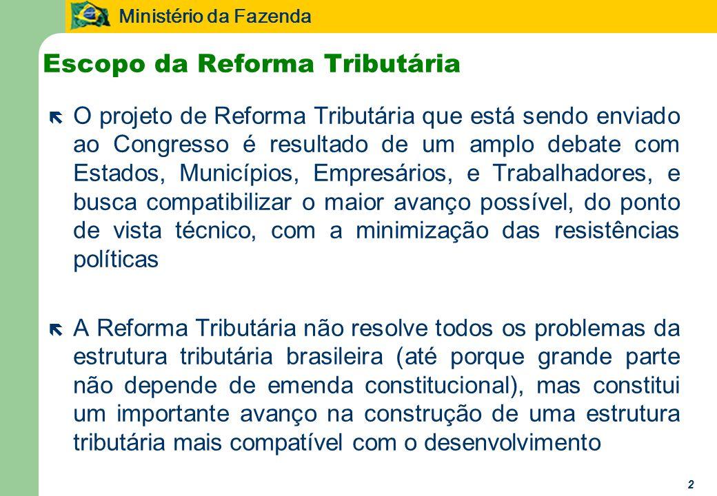 Ministério da Fazenda 2 Escopo da Reforma Tributária ë O projeto de Reforma Tributária que está sendo enviado ao Congresso é resultado de um amplo deb