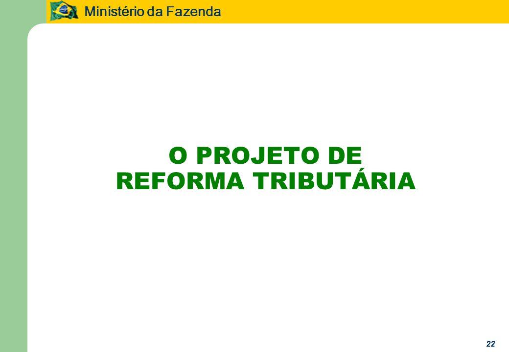 Ministério da Fazenda 22 O PROJETO DE REFORMA TRIBUTÁRIA