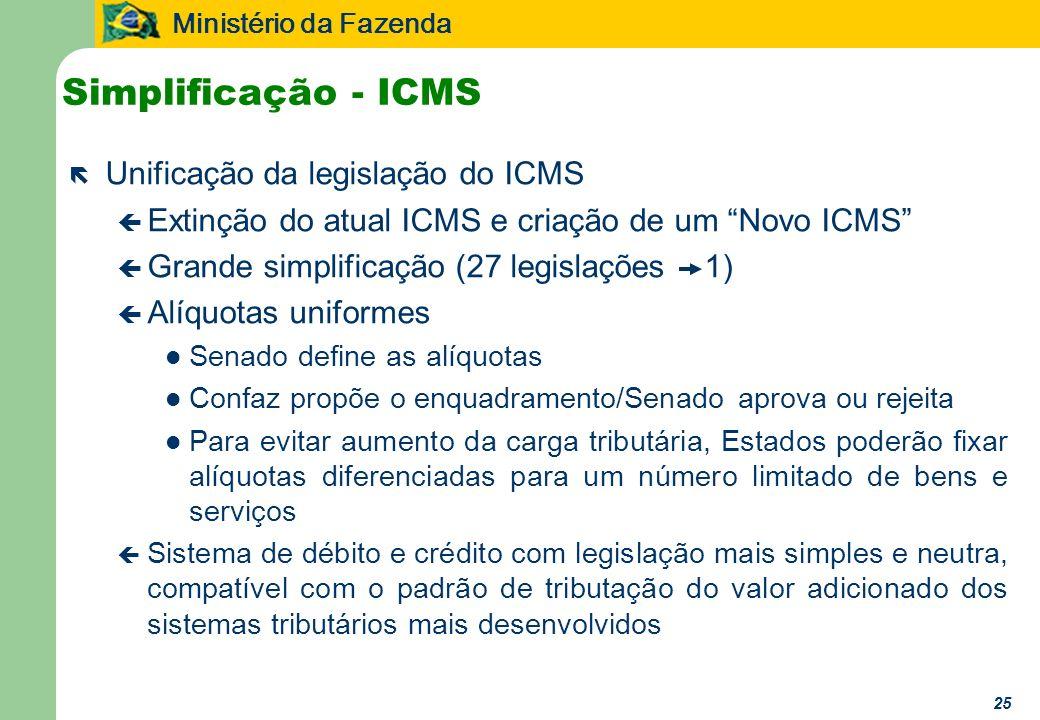 Ministério da Fazenda 25 Simplificação - ICMS ë Unificação da legislação do ICMS ç Extinção do atual ICMS e criação de um Novo ICMS ç Grande simplific