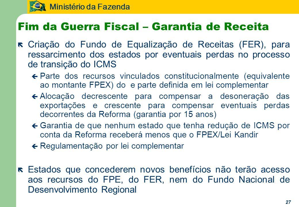 Ministério da Fazenda 27 Fim da Guerra Fiscal – Garantia de Receita ë Criação do Fundo de Equalização de Receitas (FER), para ressarcimento dos estado