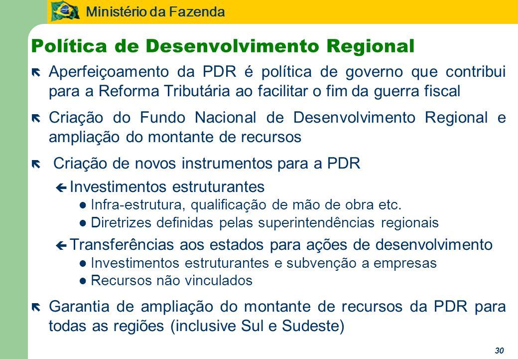Ministério da Fazenda 30 Política de Desenvolvimento Regional ë Aperfeiçoamento da PDR é política de governo que contribui para a Reforma Tributária a