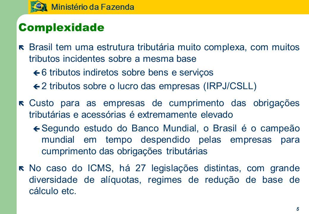 Ministério da Fazenda 5 Complexidade ë Brasil tem uma estrutura tributária muito complexa, com muitos tributos incidentes sobre a mesma base ç 6 tribu