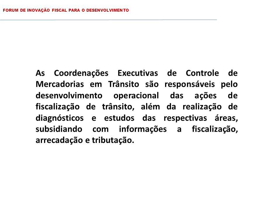 FORUM DE INOVAÇÃO FISCAL PARA O DESENVOLVIMENTO As Coordenações Executivas de Controle de Mercadorias em Trânsito são as seguintes: