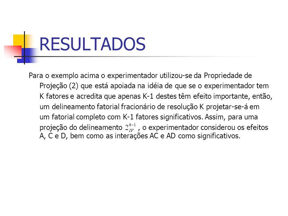 Para o exemplo acima o experimentador utilizou-se da Propriedade de Projeção (2) que está apoiada na idéia de que se o experimentador tem K fatores e acredita que apenas K-1 destes têm efeito importante, então, um delineamento fatorial fracionário de resolução K projetar-se-á em um fatorial completo com K-1 fatores significativos.