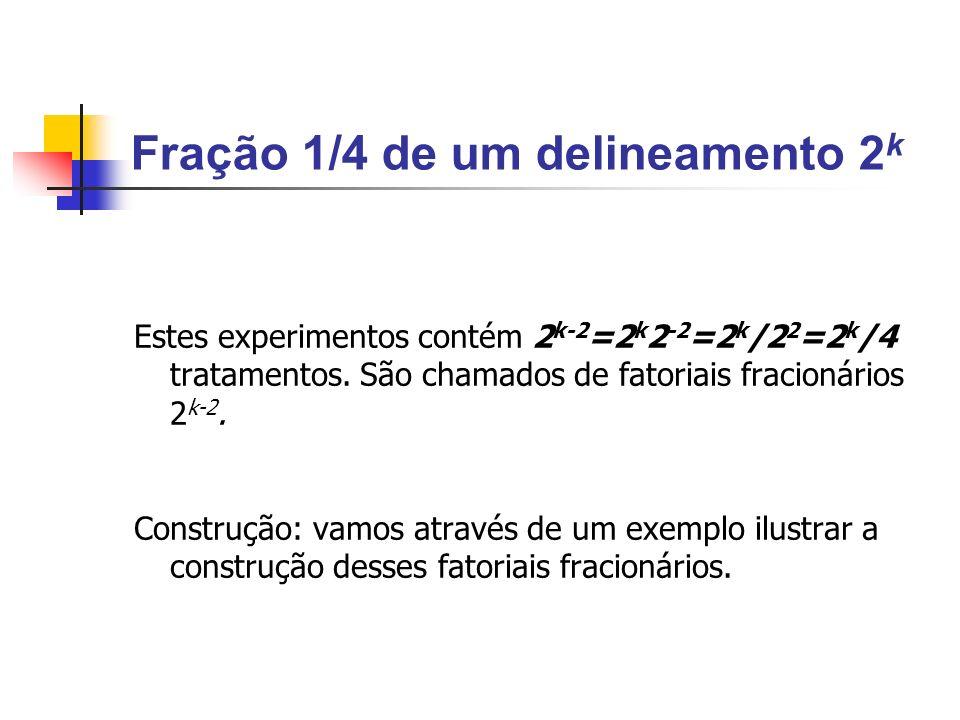 Fração 1/4 de um delineamento 2 k Estes experimentos contém 2 k-2 =2 k 2 -2 =2 k /2 2 =2 k /4 tratamentos.