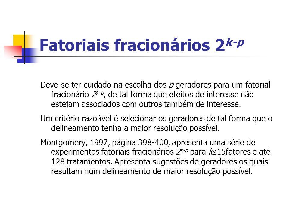 Fatoriais fracionários 2 k-p Deve-se ter cuidado na escolha dos p geradores para um fatorial fracionário 2 k-p, de tal forma que efeitos de interesse não estejam associados com outros também de interesse.