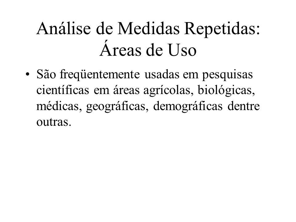 Análise de Medidas Repetidas: Áreas de Uso São freqüentemente usadas em pesquisas científicas em áreas agrícolas, biológicas, médicas, geográficas, de