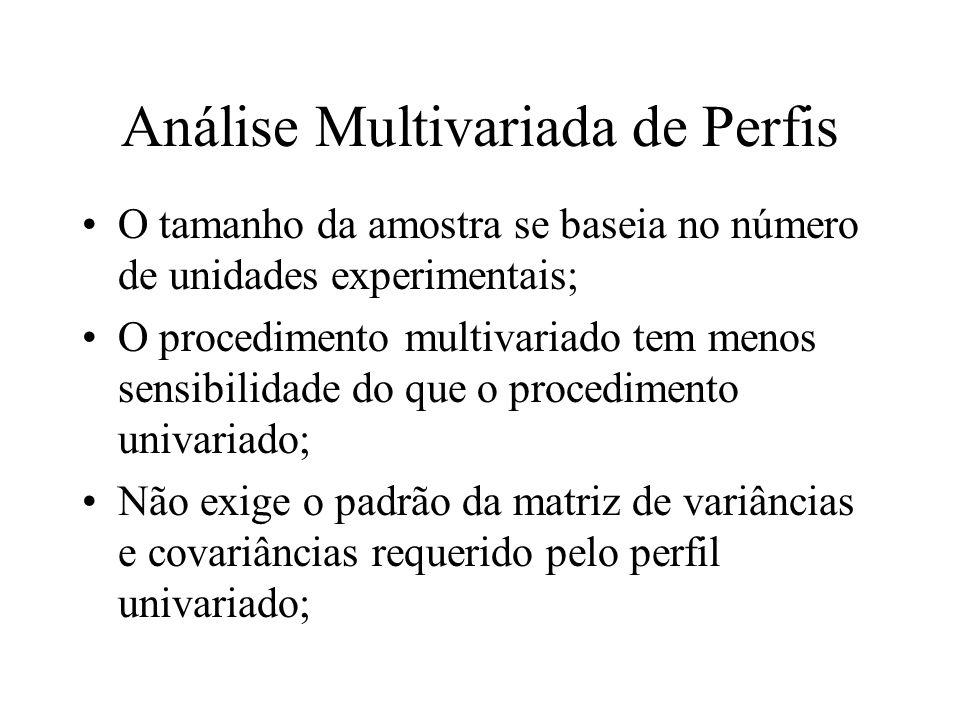 Análise Multivariada de Perfis O tamanho da amostra se baseia no número de unidades experimentais; O procedimento multivariado tem menos sensibilidade