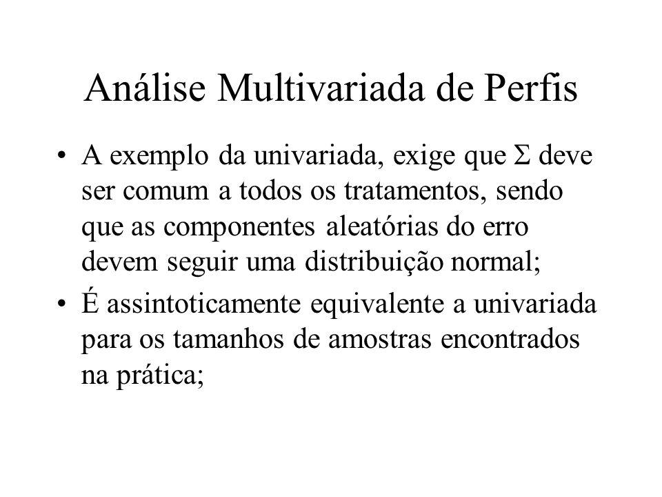 Análise Multivariada de Perfis A exemplo da univariada, exige que deve ser comum a todos os tratamentos, sendo que as componentes aleatórias do erro d