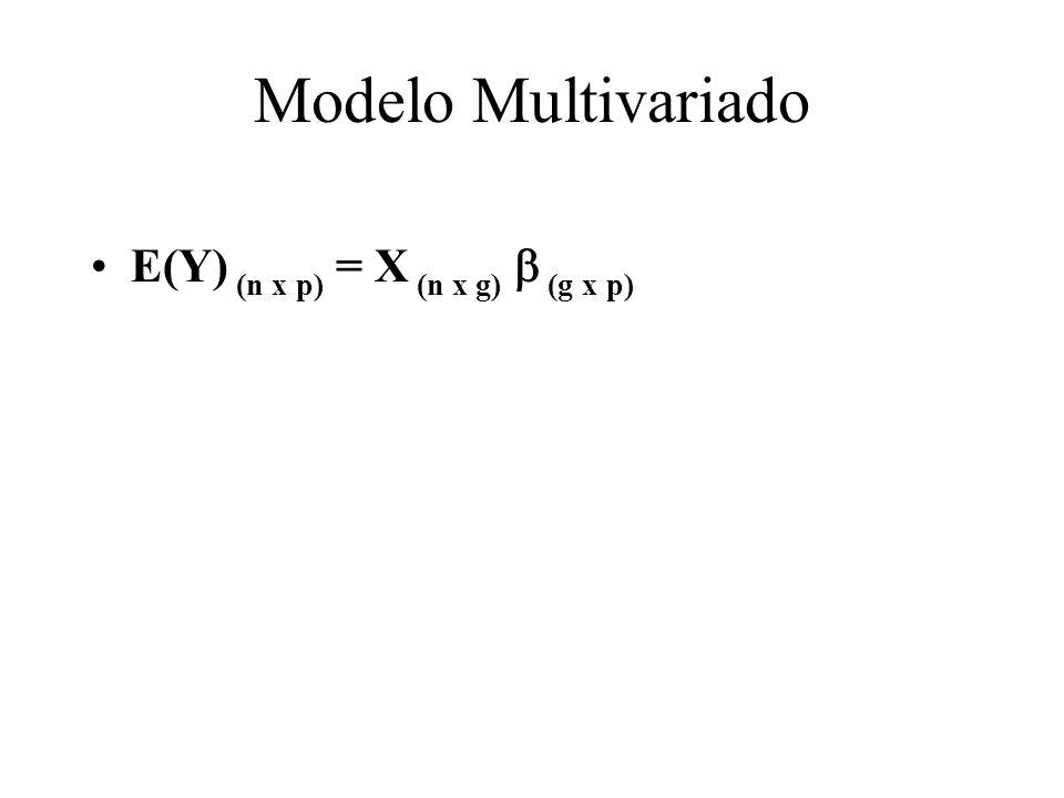 Modelo Multivariado E(Y) (n x p) = X (n x g) (g x p)