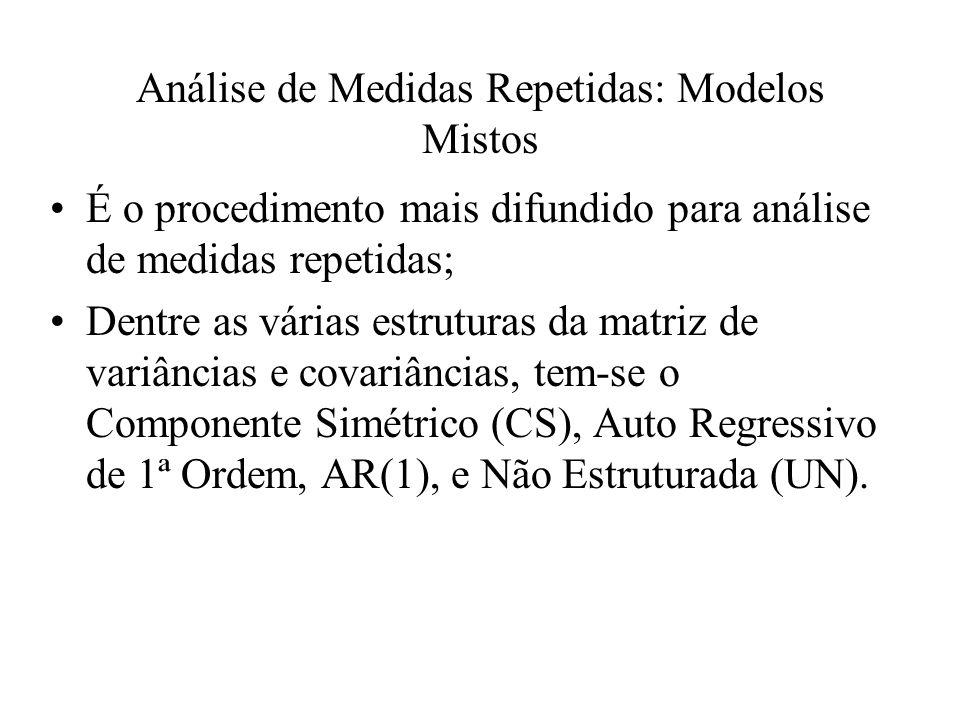Análise de Medidas Repetidas: Modelos Mistos É o procedimento mais difundido para análise de medidas repetidas; Dentre as várias estruturas da matriz