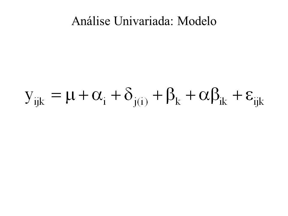Análise de Medidas Repetidas: Modelos Mistos É o procedimento mais difundido para análise de medidas repetidas; Dentre as várias estruturas da matriz de variâncias e covariâncias, tem-se o Componente Simétrico (CS), Auto Regressivo de 1ª Ordem, AR(1), e Não Estruturada (UN).