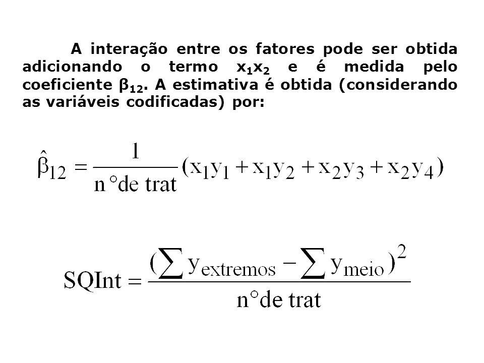 A interação entre os fatores pode ser obtida adicionando o termo x 1 x 2 e é medida pelo coeficiente β 12. A estimativa é obtida (considerando as vari