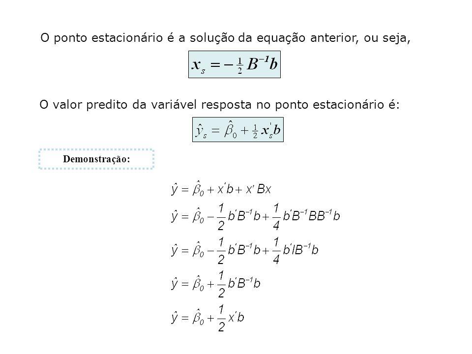 O ponto estacionário é a solução da equação anterior, ou seja, O valor predito da variável resposta no ponto estacionário é: Demonstração: