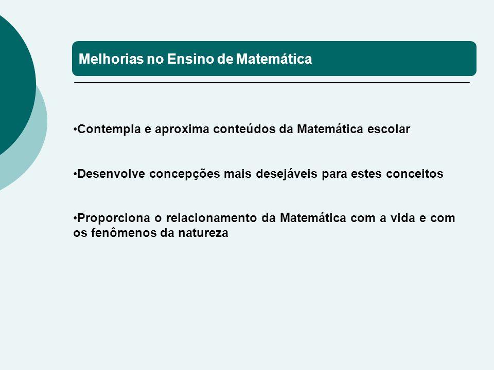Melhorias no Ensino de Matemática Contempla e aproxima conteúdos da Matemática escolar Desenvolve concepções mais desejáveis para estes conceitos Proporciona o relacionamento da Matemática com a vida e com os fenômenos da natureza