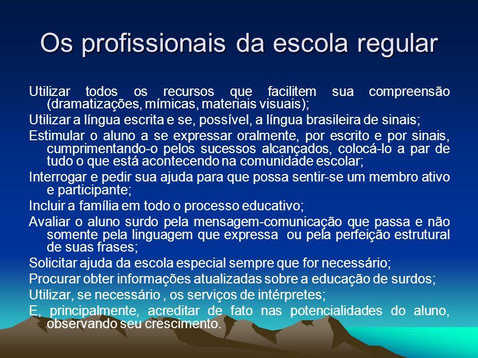 Os profissionais da escola regular Utilizar todos os recursos que facilitem sua compreensão (dramatizações, mímicas, materiais visuais); Utilizar a lí