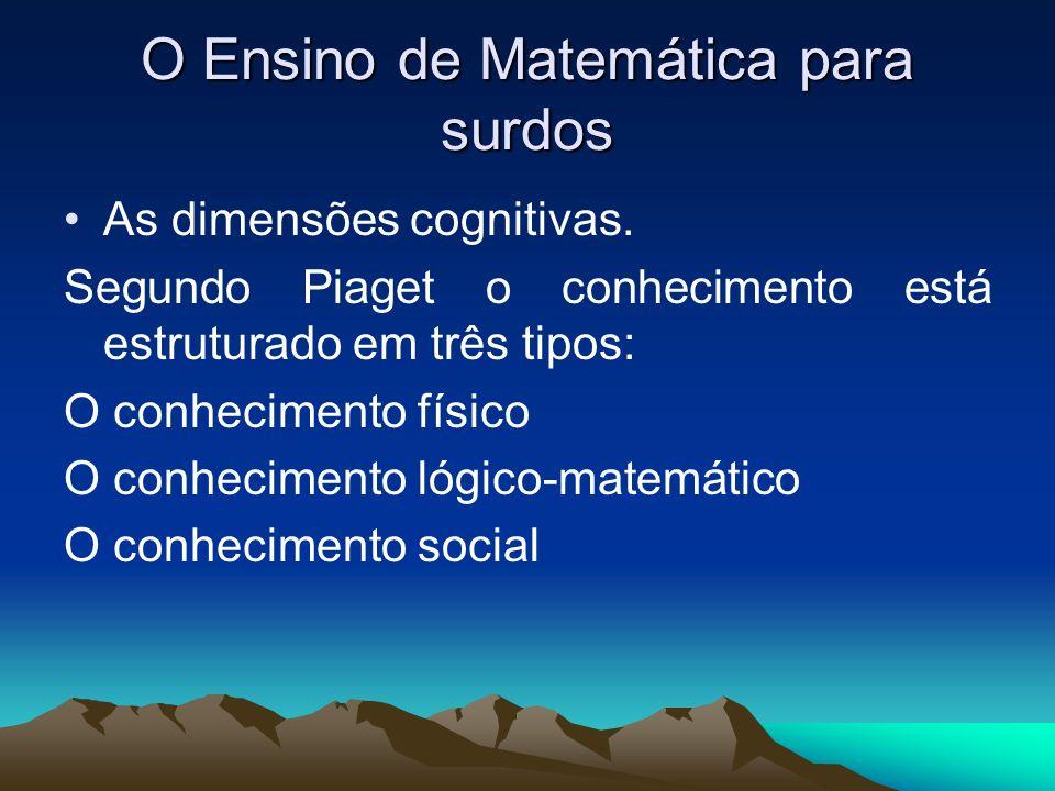 O Ensino de Matemática para surdos As dimensões cognitivas. Segundo Piaget o conhecimento está estruturado em três tipos: O conhecimento físico O conh