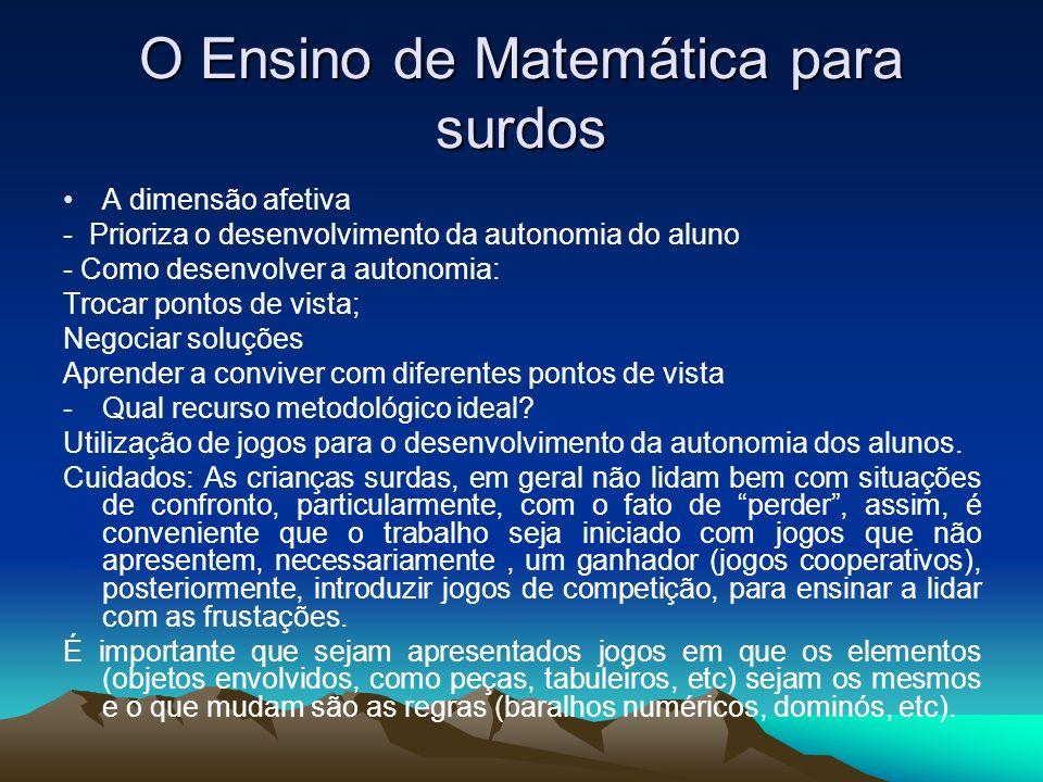 O Ensino de Matemática para surdos A dimensão afetiva - Prioriza o desenvolvimento da autonomia do aluno - Como desenvolver a autonomia: Trocar pontos