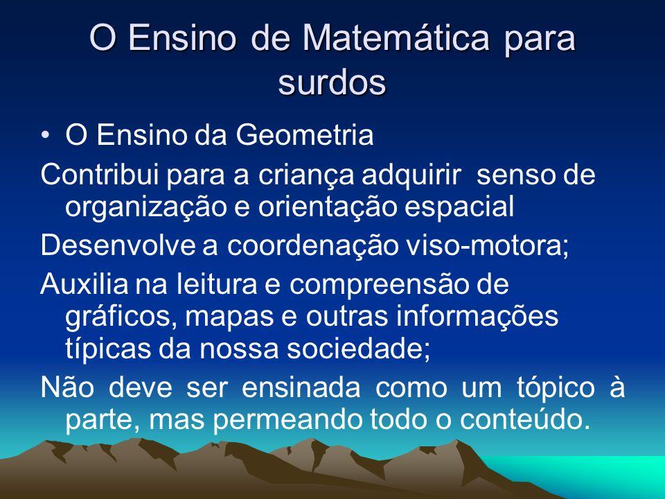 O Ensino de Matemática para surdos O Ensino da Geometria Contribui para a criança adquirir senso de organização e orientação espacial Desenvolve a coo
