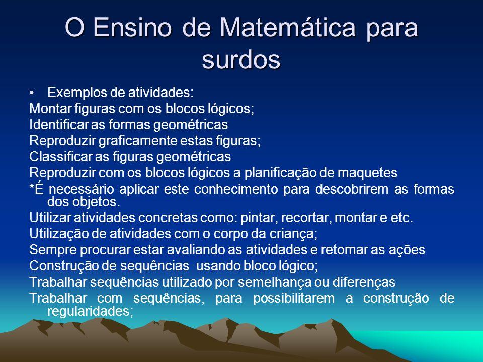 O Ensino de Matemática para surdos Exemplos de atividades: Montar figuras com os blocos lógicos; Identificar as formas geométricas Reproduzir graficam