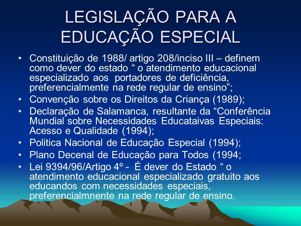 LEGISLAÇÃO PARA A EDUCAÇÃO ESPECIAL Constituição de 1988/ artigo 208/inciso III – definem como dever do estado o atendimento educacional especializado