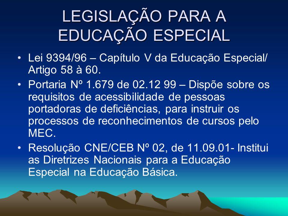 LEGISLAÇÃO PARA A EDUCAÇÃO ESPECIAL Lei 9394/96 – Capítulo V da Educação Especial/ Artigo 58 à 60. Portaria Nº 1.679 de 02.12 99 – Dispõe sobre os req