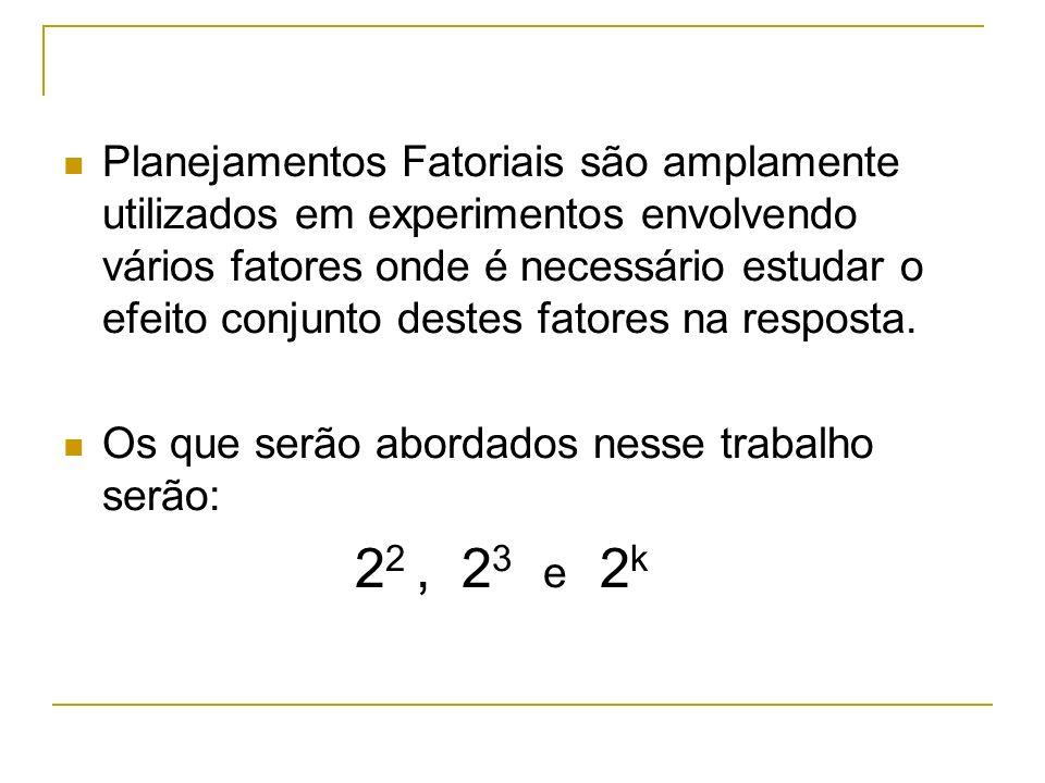 Nesse caso tem-se 2 fatores cada um com dois níveis, produzindo 4 tratamentos ((1), a, b e ab).