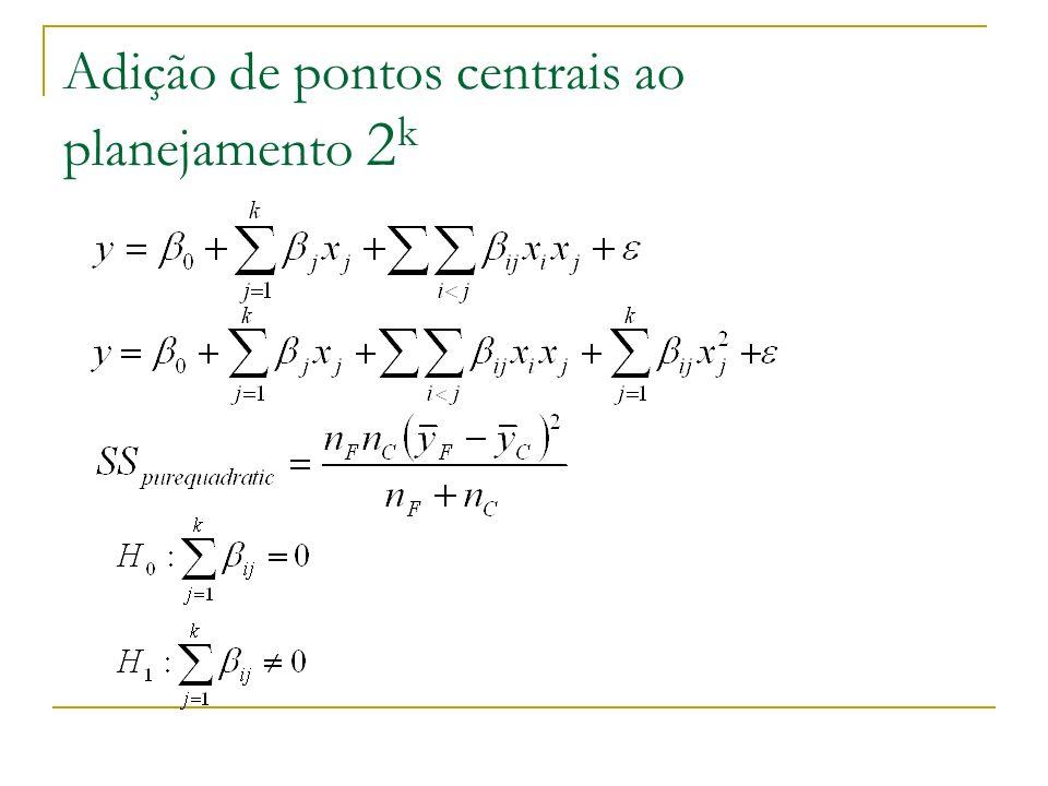 Adição de pontos centrais ao planejamento 2 k