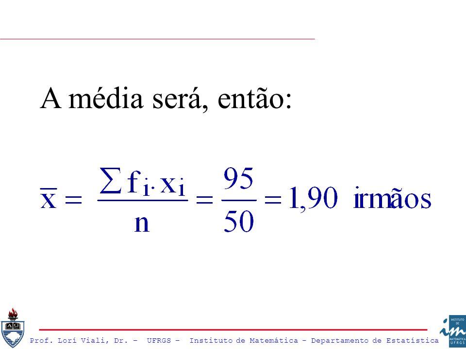 Prof. Lorí Viali, Dr. – UFRGS – Instituto de Matemática - Departamento de Estatística A média será, então: