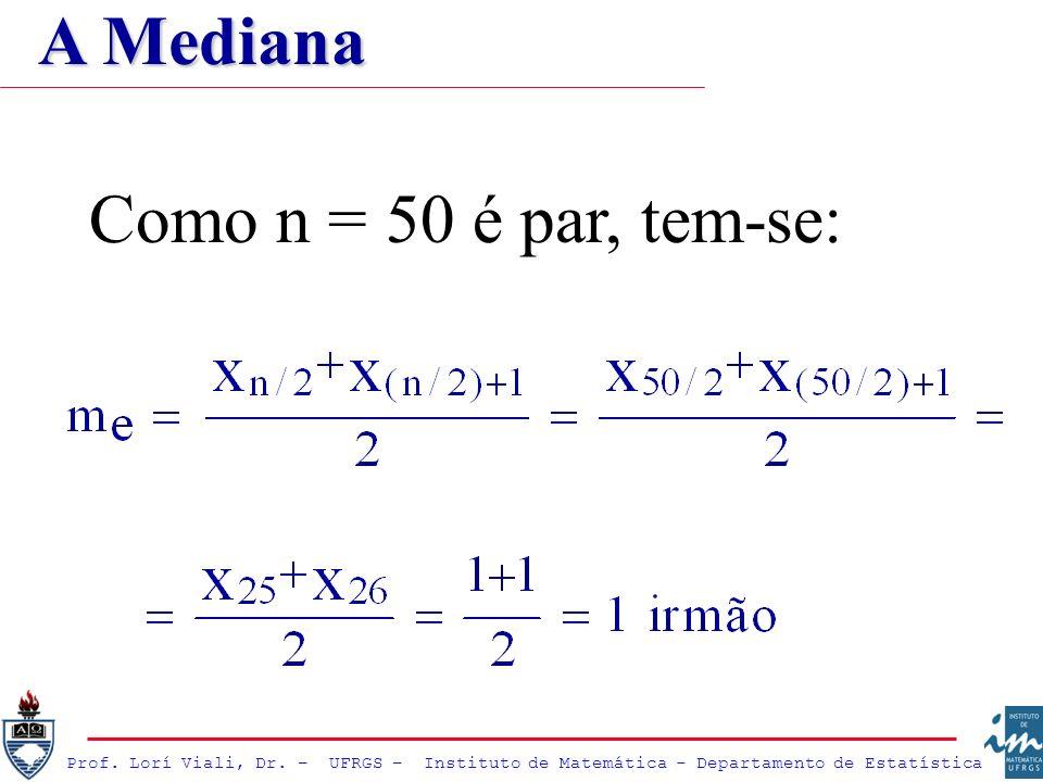 Prof. Lorí Viali, Dr. – UFRGS – Instituto de Matemática - Departamento de Estatística Como n = 50 é par, tem-se: A Mediana