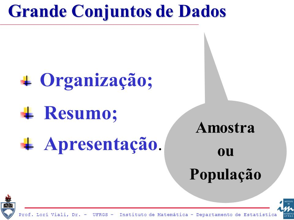 Organização; Resumo; Apresentação. Amostra ou População Grande Conjuntos de Dados