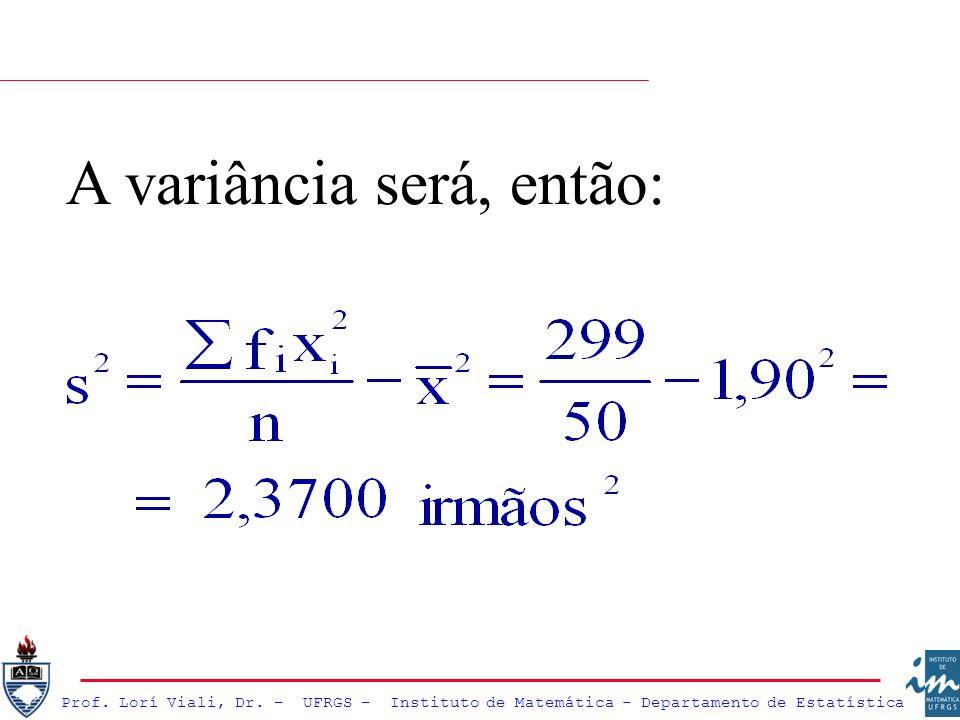 Prof. Lorí Viali, Dr. – UFRGS – Instituto de Matemática - Departamento de Estatística A variância será, então: